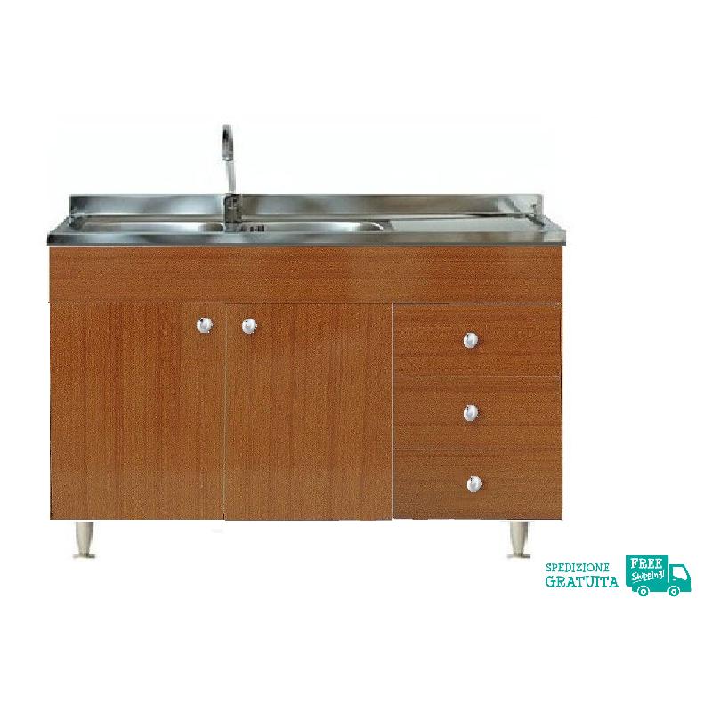 Mobile Con Lavello 120x50 cm color teak per la cucina con 2 ante e ...