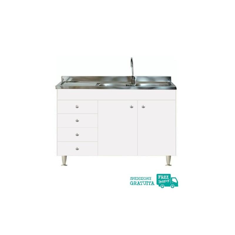 Mobile Con Lavello 120x50 cm color Bianco per la cucina con 2 ante e  cassettiera sinistra