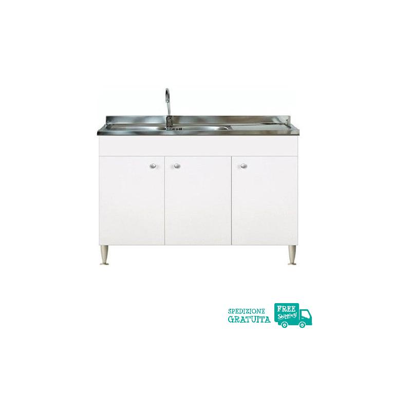 Mobile Con Lavello 120x50 cm color Bianco per la cucina con 3 ante e  gocciolatoio a destra
