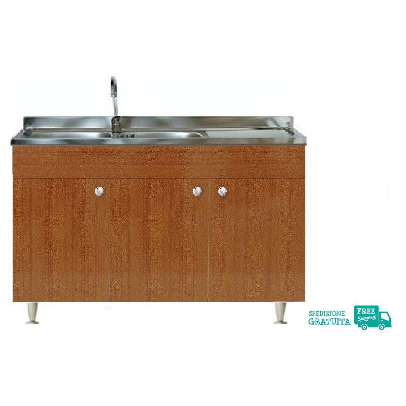 Mobile Con Lavello 120x50 cm color Teak per la cucina con 3 ante e  gocciolatoio a destra