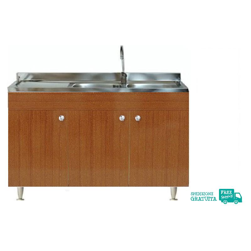 Mobile Con Lavello 120x50 cm color Teak per la cucina con 3 ante e  gocciolatoio a sinistra